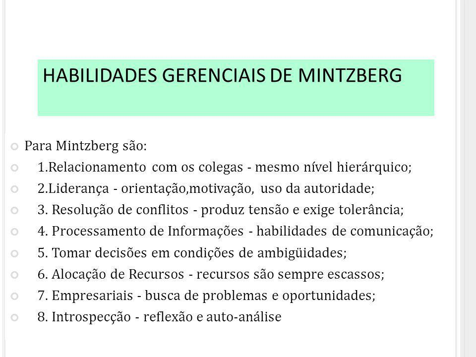 HABILIDADES GERENCIAIS DE MINTZBERG