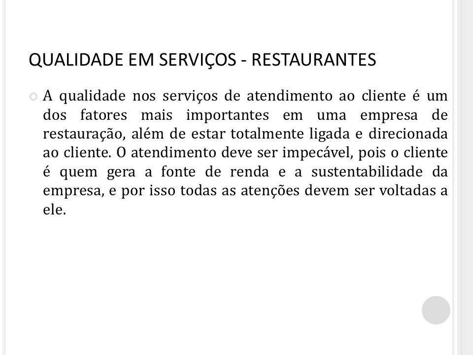 QUALIDADE EM SERVIÇOS - RESTAURANTES