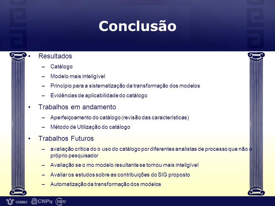 Conclusão Resultados Trabalhos em andamento Trabalhos Futuros Catálogo