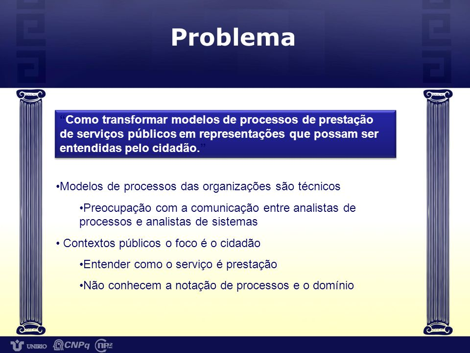 Problema Como transformar modelos de processos de prestação de serviços públicos em representações que possam ser entendidas pelo cidadão.