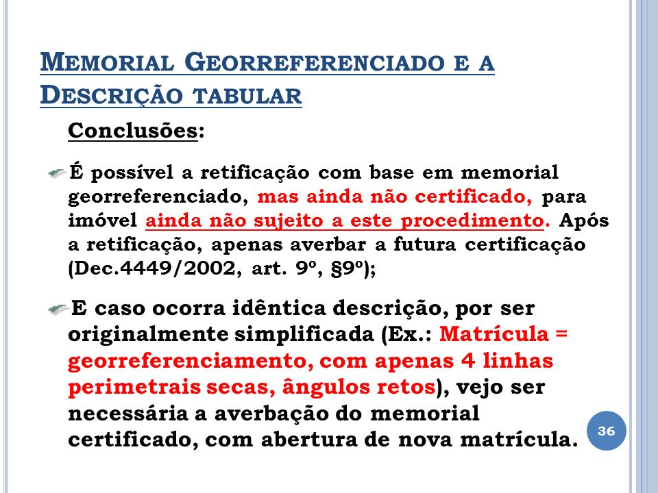 Memorial Georreferenciado e a Descrição tabular