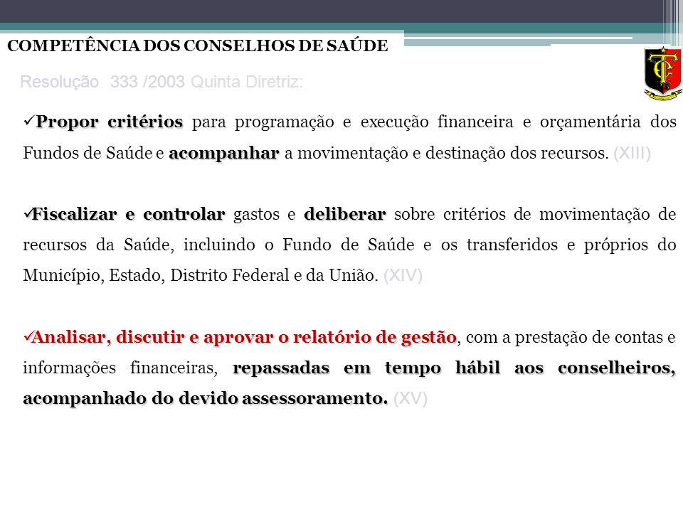 Resolução 333 /2003 Quinta Diretriz: