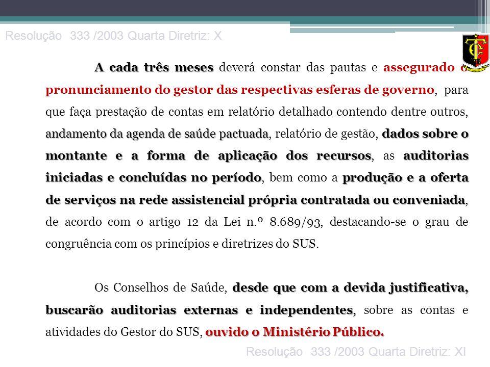 Resolução 333 /2003 Quarta Diretriz: X