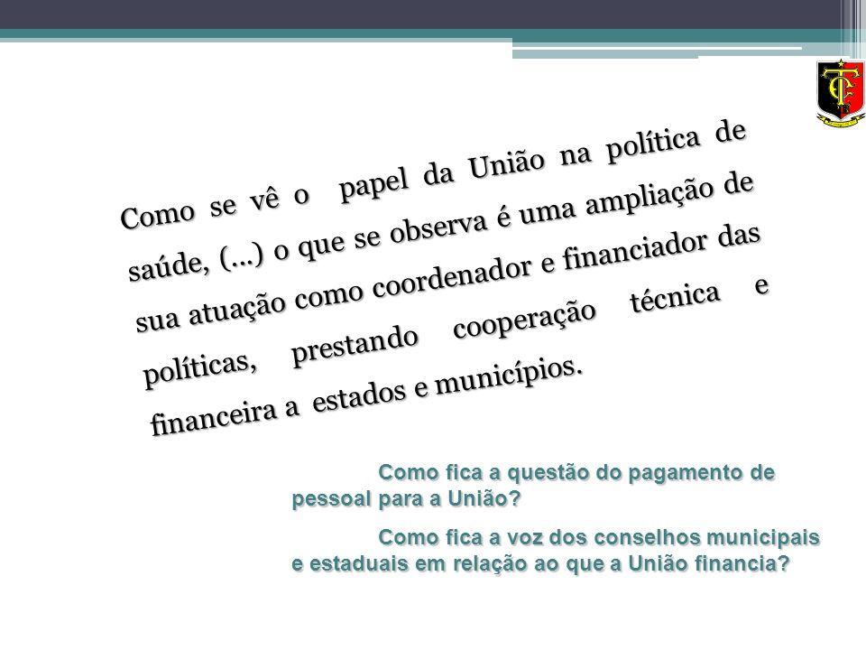 Como se vê o papel da União na política de saúde, (
