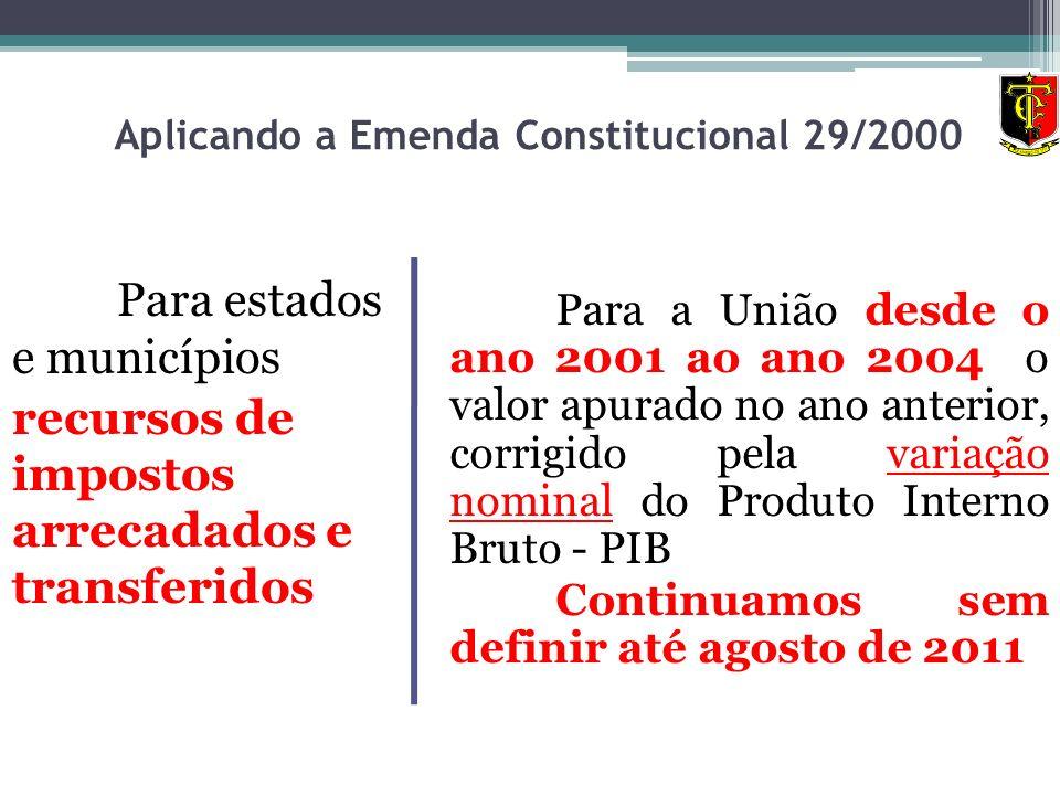 Aplicando a Emenda Constitucional 29/2000