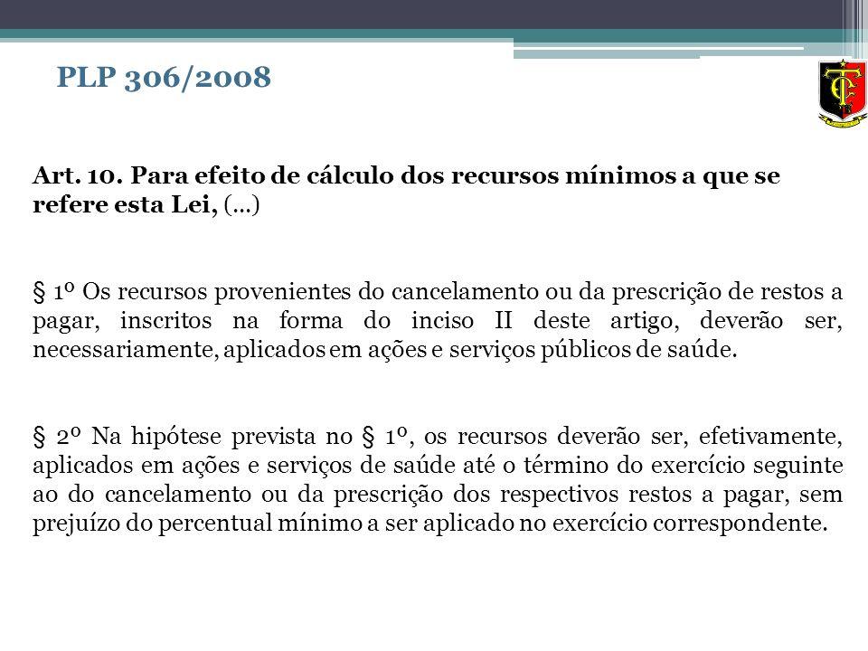 PLP 306/2008 Art. 10. Para efeito de cálculo dos recursos mínimos a que se refere esta Lei, (...)