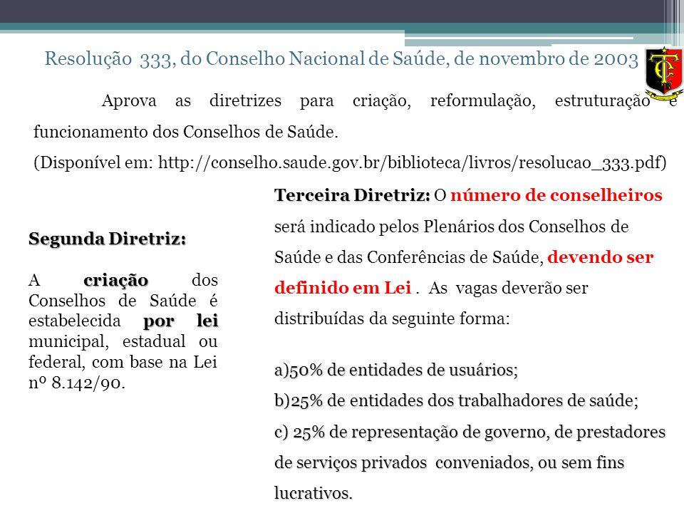 Resolução 333, do Conselho Nacional de Saúde, de novembro de 2003