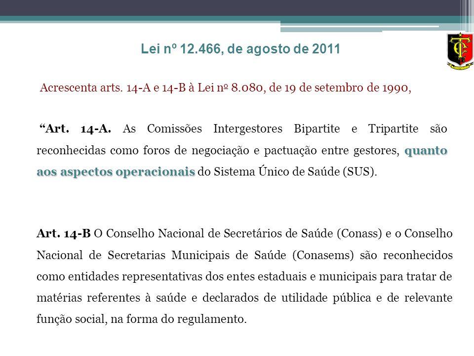 Lei nº 12.466, de agosto de 2011 Acrescenta arts. 14-A e 14-B à Lei no 8.080, de 19 de setembro de 1990,