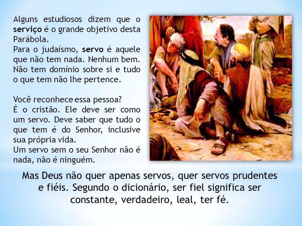Alguns estudiosos dizem que o serviço é o grande objetivo desta Parábola.