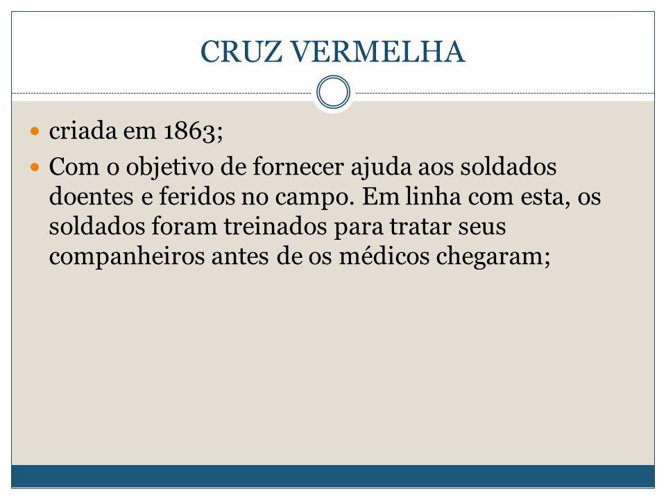 CRUZ VERMELHA criada em 1863;