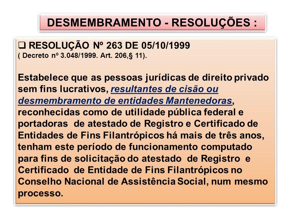 DESMEMBRAMENTO - RESOLUÇÕES :