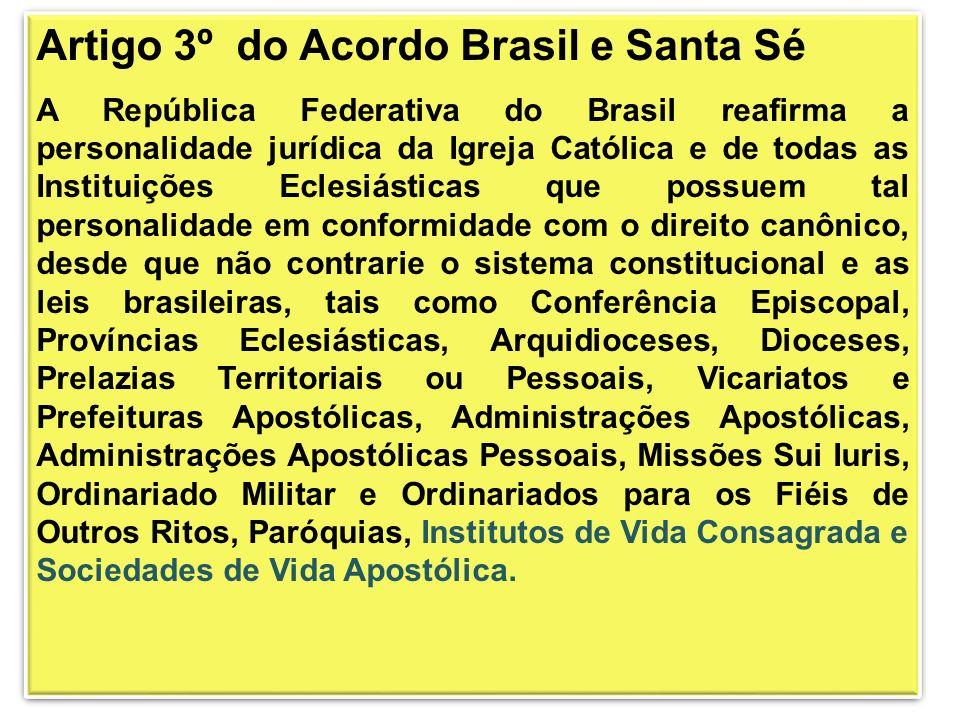 Artigo 3º do Acordo Brasil e Santa Sé