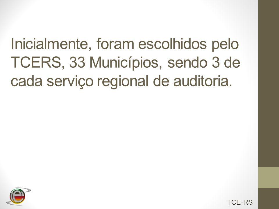 Inicialmente, foram escolhidos pelo TCERS, 33 Municípios, sendo 3 de cada serviço regional de auditoria.