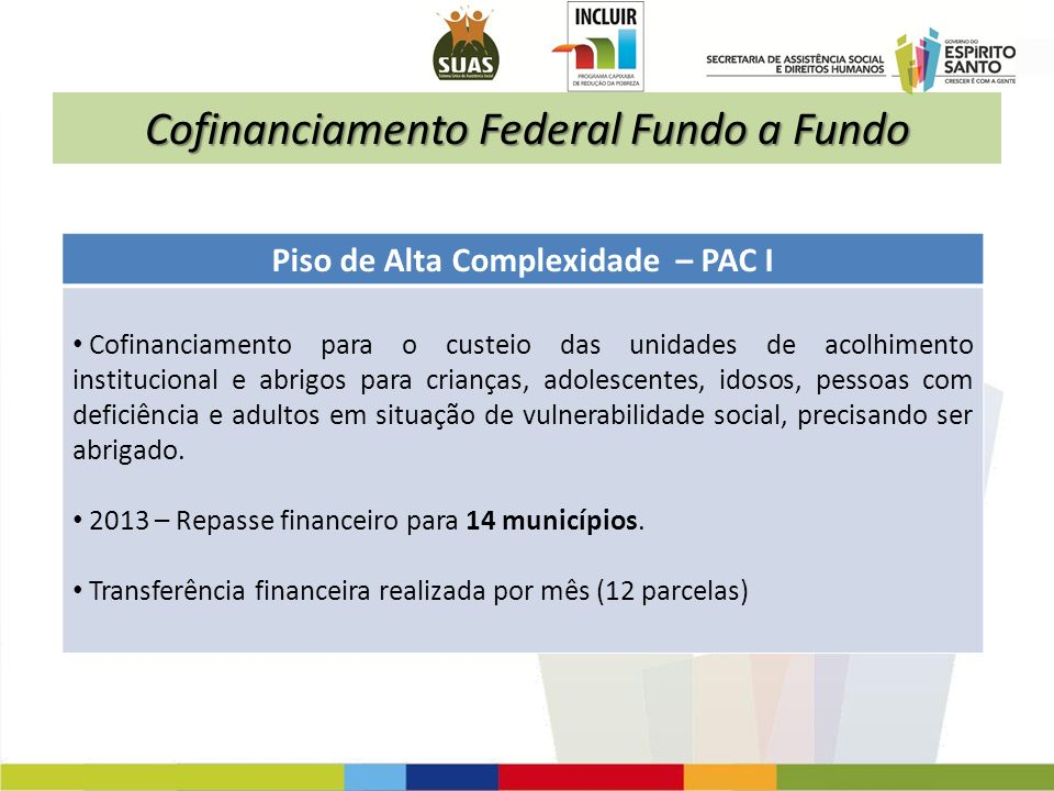 Cofinanciamento Federal Fundo a Fundo