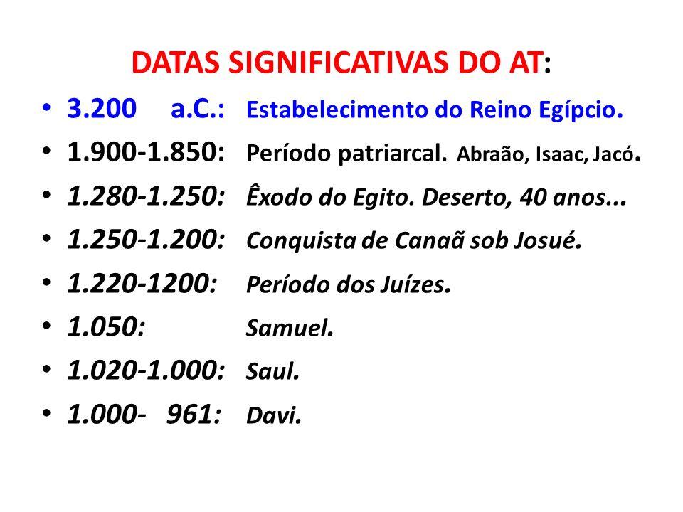 DATAS SIGNIFICATIVAS DO AT: