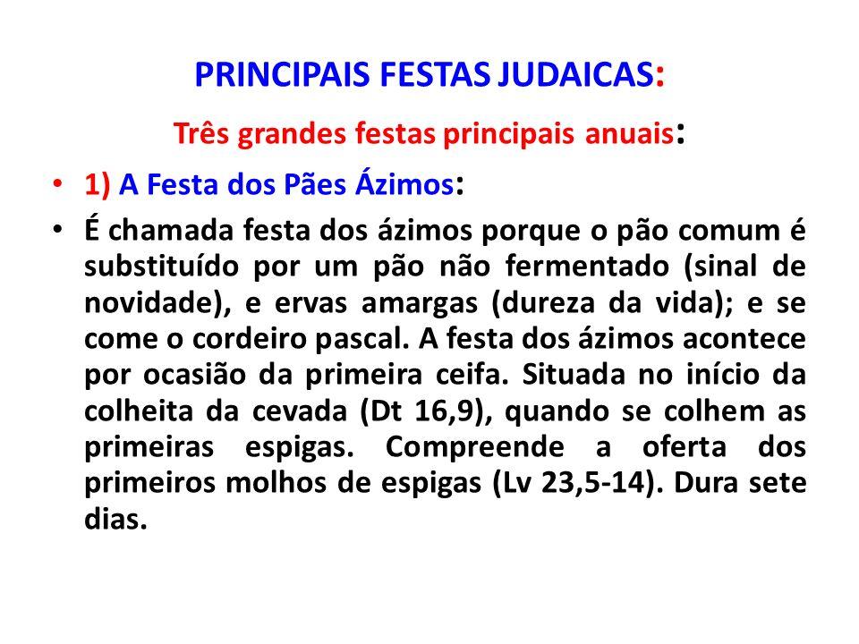 PRINCIPAIS FESTAS JUDAICAS: Três grandes festas principais anuais: