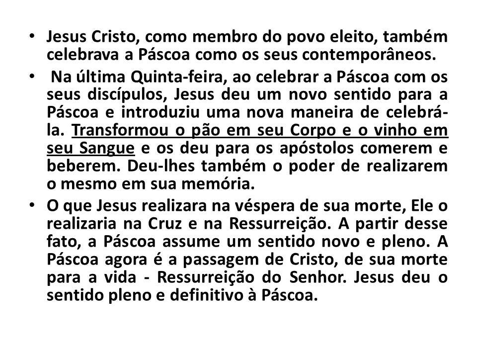 Jesus Cristo, como membro do povo eleito, também celebrava a Páscoa como os seus contemporâneos.