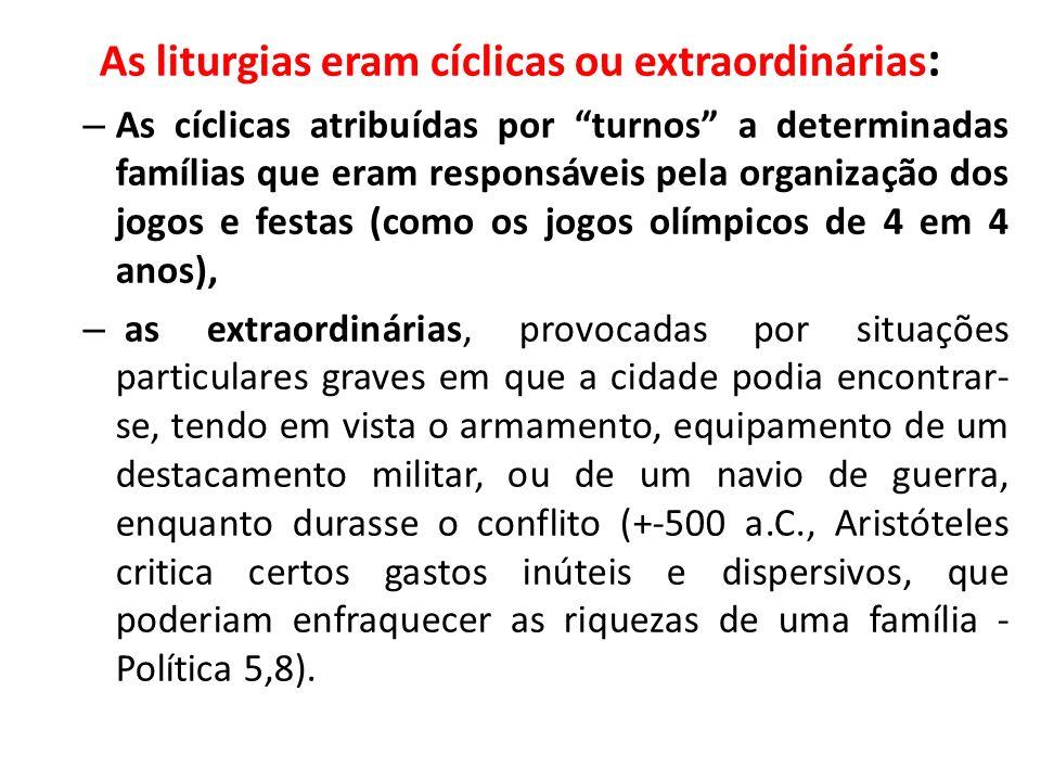 As liturgias eram cíclicas ou extraordinárias: