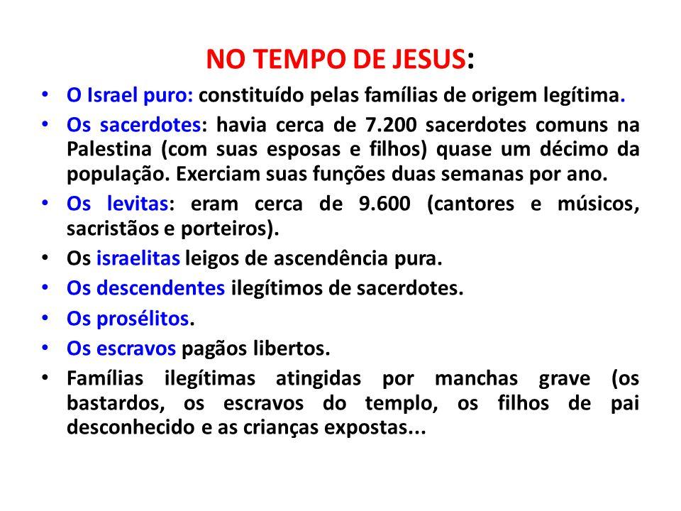 NO TEMPO DE JESUS: O Israel puro: constituído pelas famílias de origem legítima.