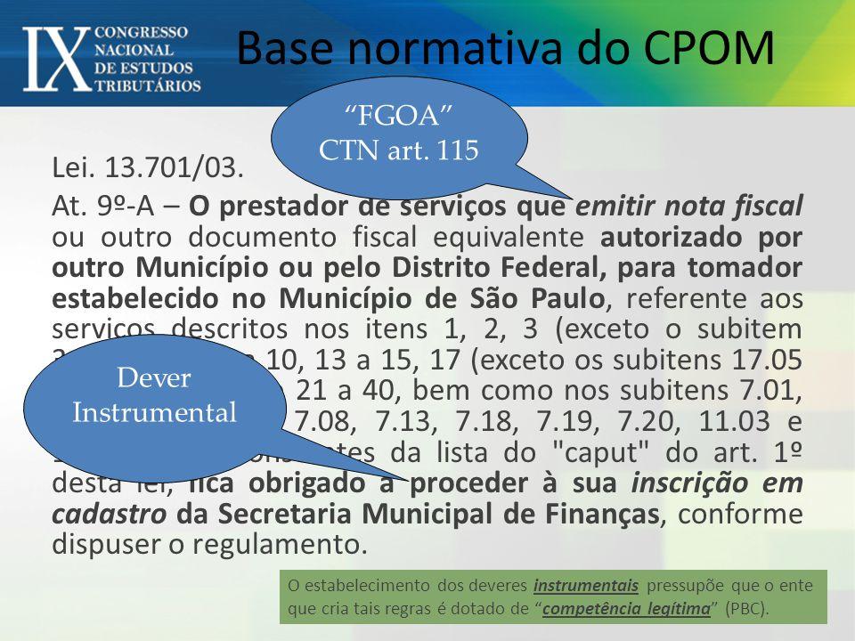 Base normativa do CPOM FGOA CTN art. 115.