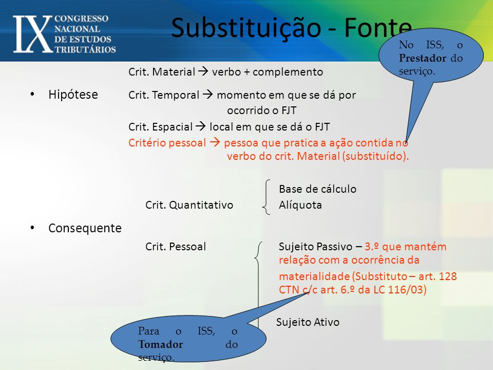 Substituição - Fonte No ISS, o Prestador do serviço. Crit. Material  verbo + complemento.