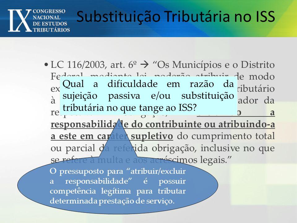 Substituição Tributária no ISS