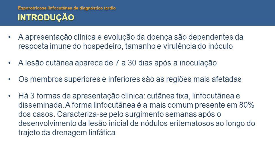 INTRODUÇÃO A apresentação clínica e evolução da doença são dependentes da resposta imune do hospedeiro, tamanho e virulência do inóculo.