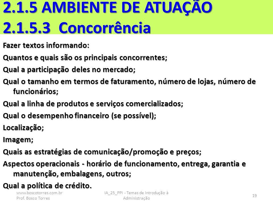 2.1.5 AMBIENTE DE ATUAÇÃO 2.1.5.3 Concorrência