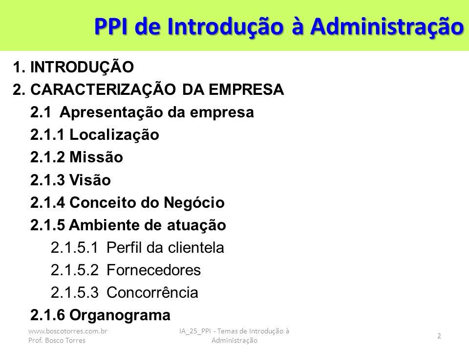 PPI de Introdução à Administração