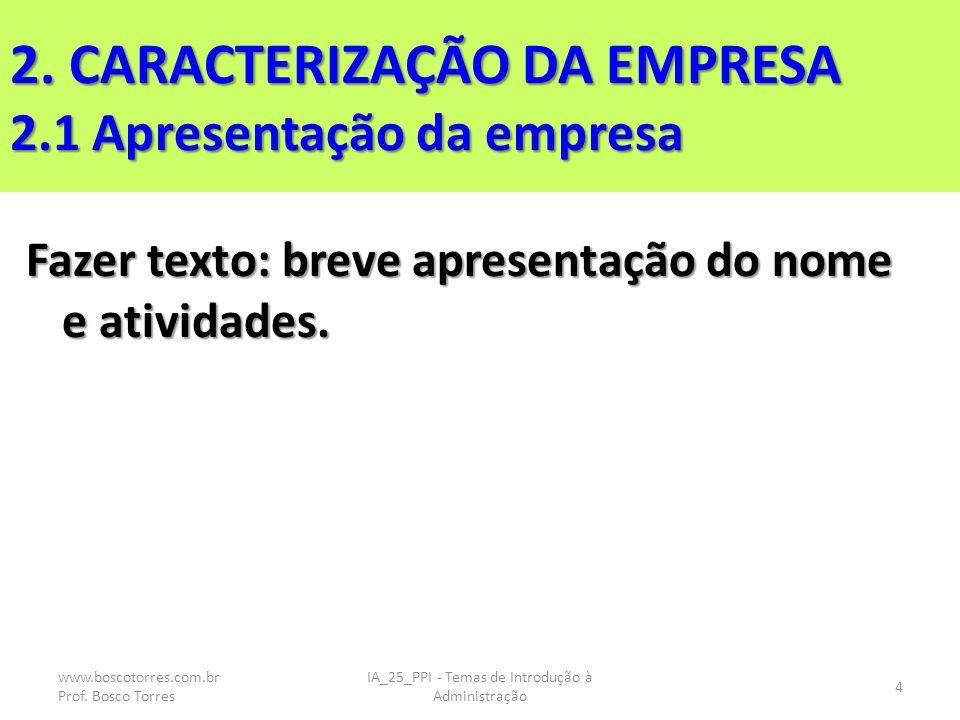 2. CARACTERIZAÇÃO DA EMPRESA 2.1 Apresentação da empresa