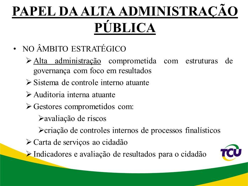 PAPEL DA ALTA ADMINISTRAÇÃO PÚBLICA