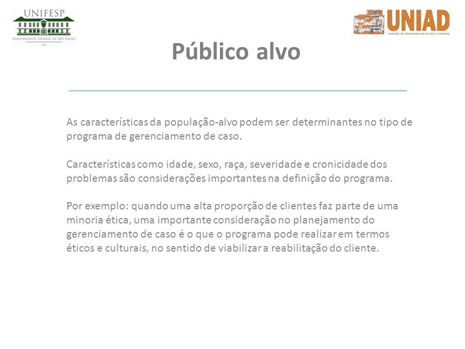 Público alvo As características da população-alvo podem ser determinantes no tipo de programa de gerenciamento de caso.