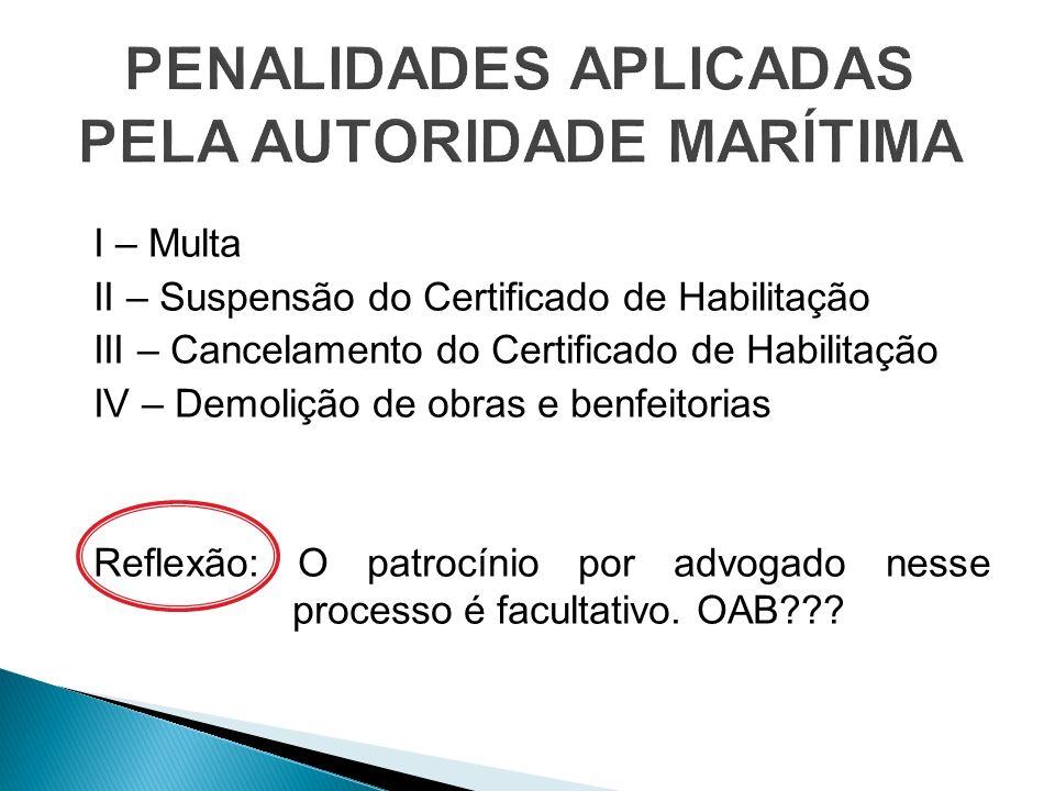 PENALIDADES APLICADAS PELA AUTORIDADE MARÍTIMA