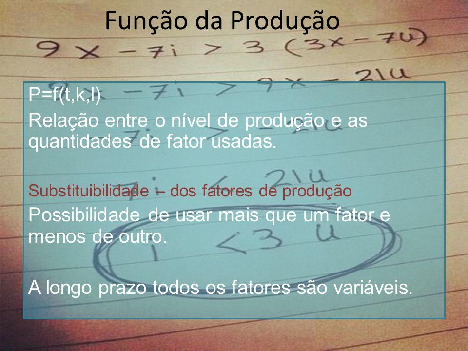 Função da Produção P=f(t,k,l)