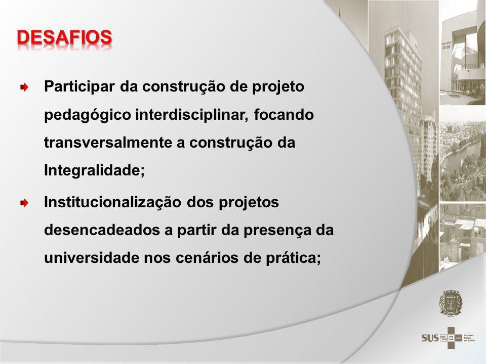 DESAFIOS Participar da construção de projeto pedagógico interdisciplinar, focando transversalmente a construção da Integralidade;