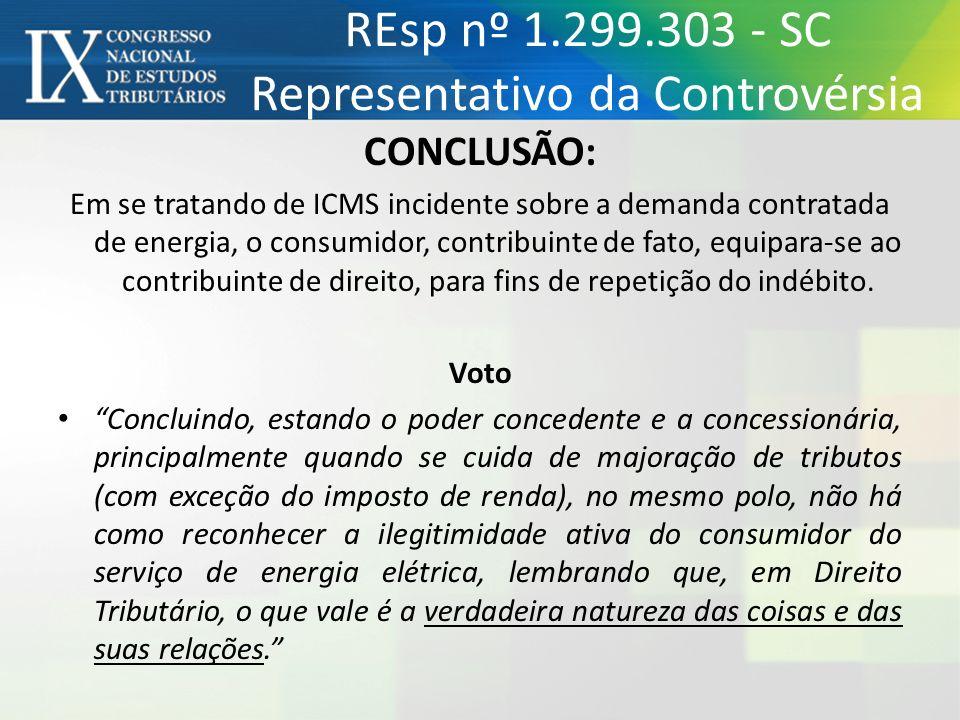 REsp nº 1.299.303 - SC Representativo da Controvérsia