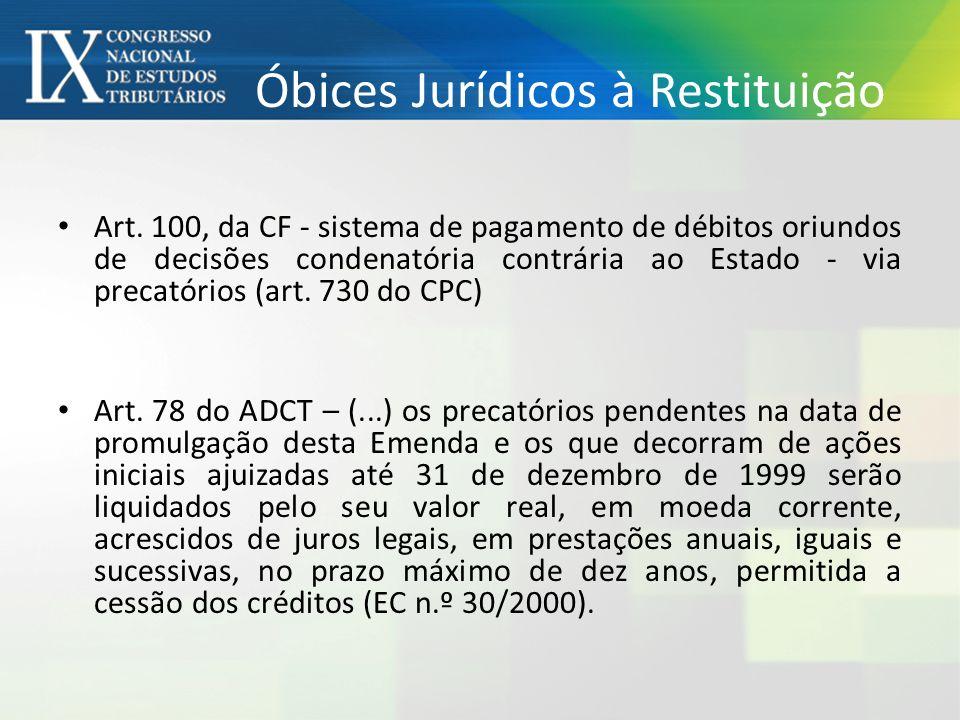 Óbices Jurídicos à Restituição