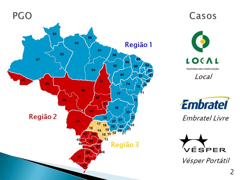 PGO Casos Região 1 Local Região 2 Embratel Livre Região 3