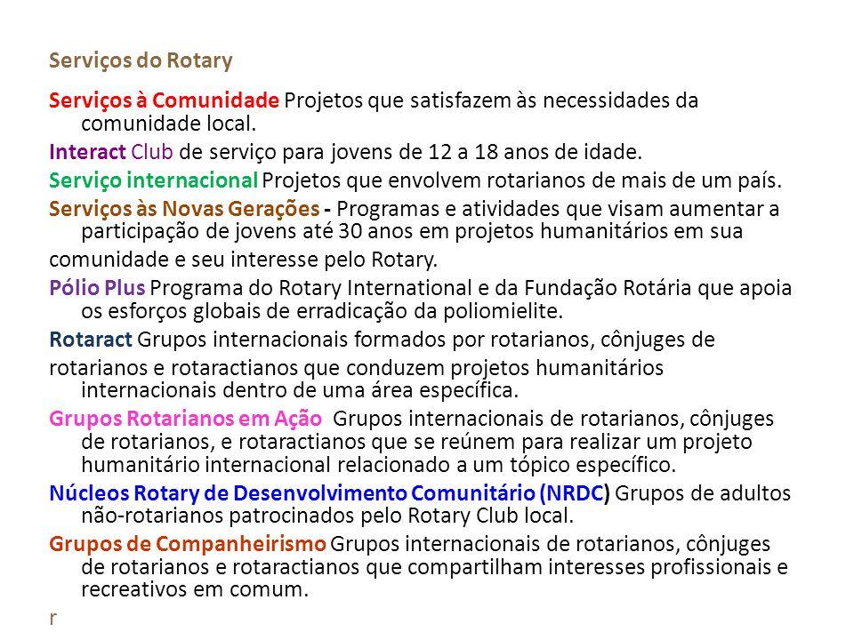Serviços do Rotary Serviços à Comunidade Projetos que satisfazem às necessidades da comunidade local.