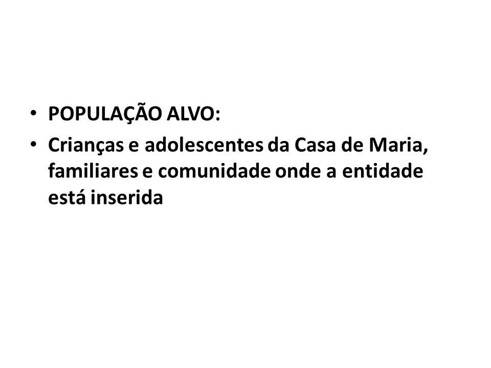 POPULAÇÃO ALVO: Crianças e adolescentes da Casa de Maria, familiares e comunidade onde a entidade está inserida.