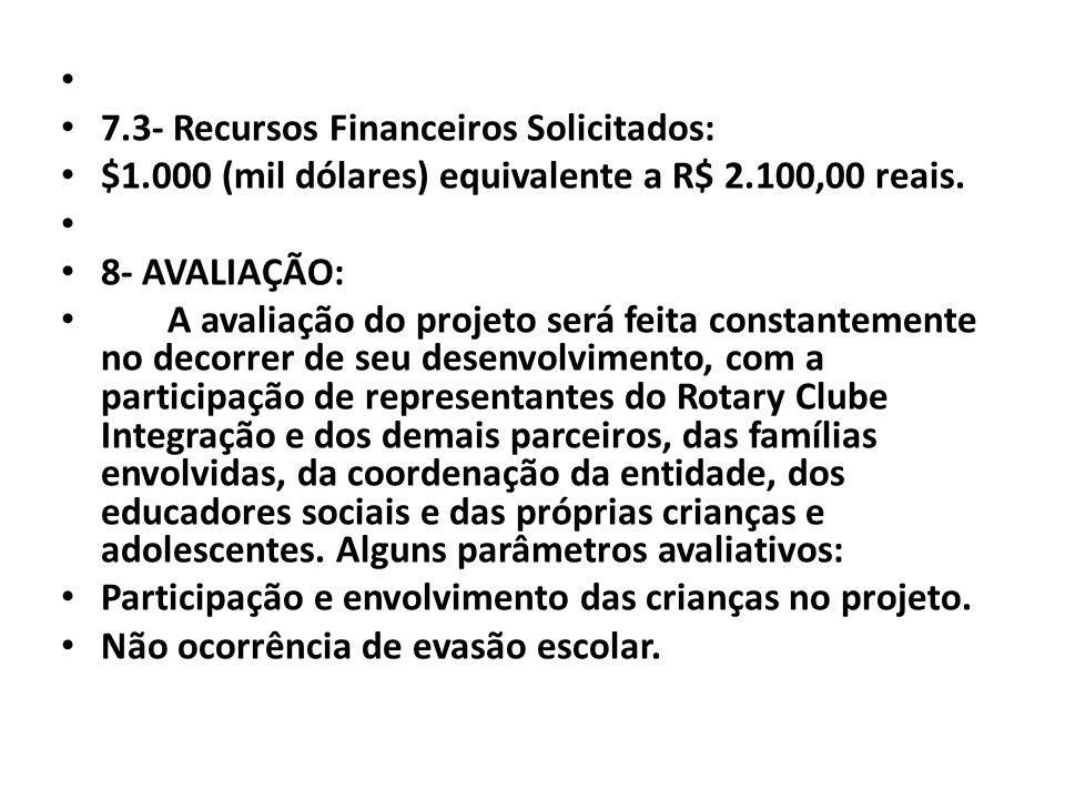 7.3- Recursos Financeiros Solicitados: $1.000 (mil dólares) equivalente a R$ 2.100,00 reais. 8- AVALIAÇÃO: