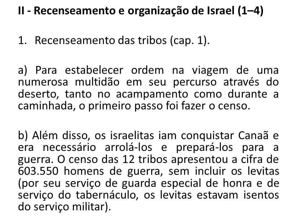 II - Recenseamento e organização de Israel (1–4)