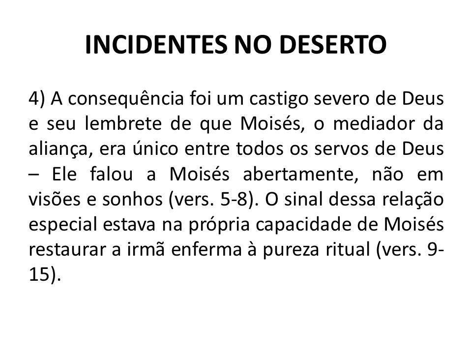 INCIDENTES NO DESERTO