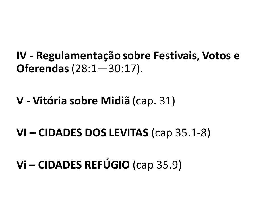 IV - Regulamentação sobre Festivais, Votos e Oferendas (28:1—30:17)