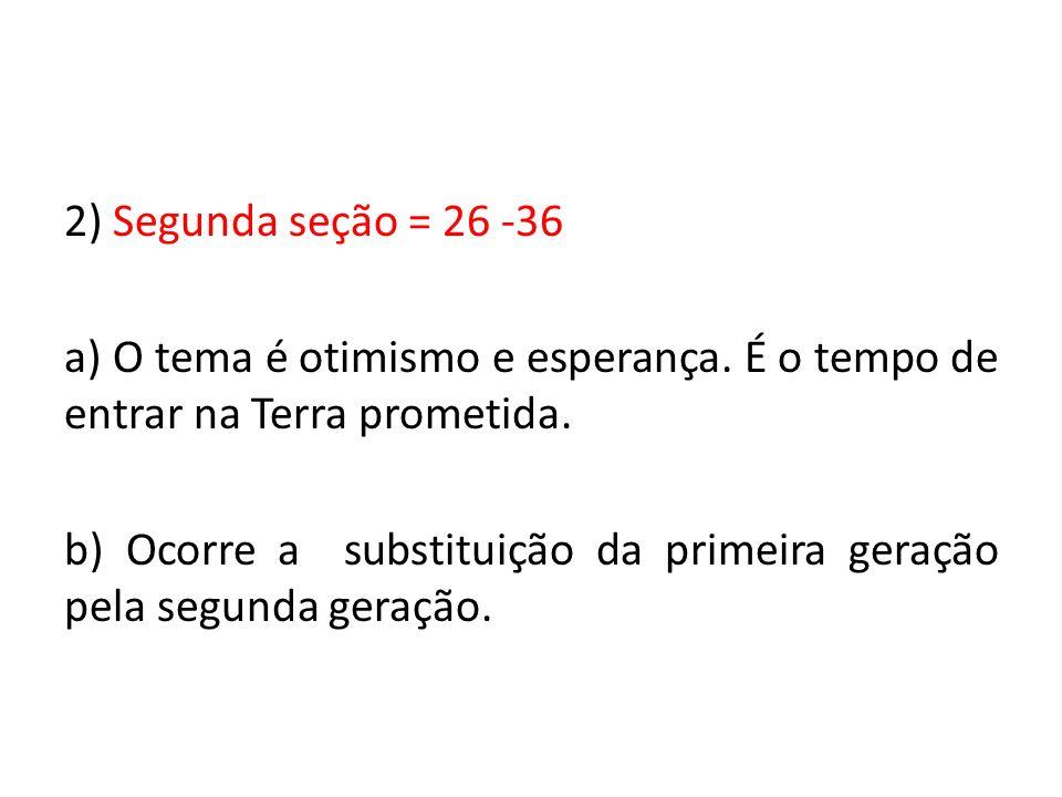 2) Segunda seção = 26 -36 a) O tema é otimismo e esperança