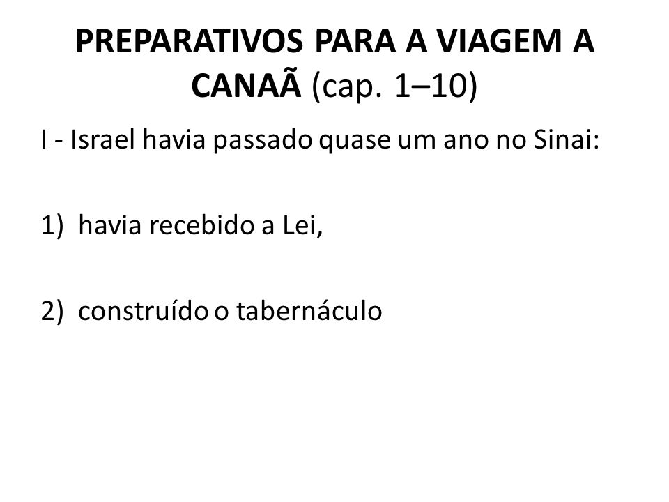 PREPARATIVOS PARA A VIAGEM A CANAÃ (cap. 1–10)