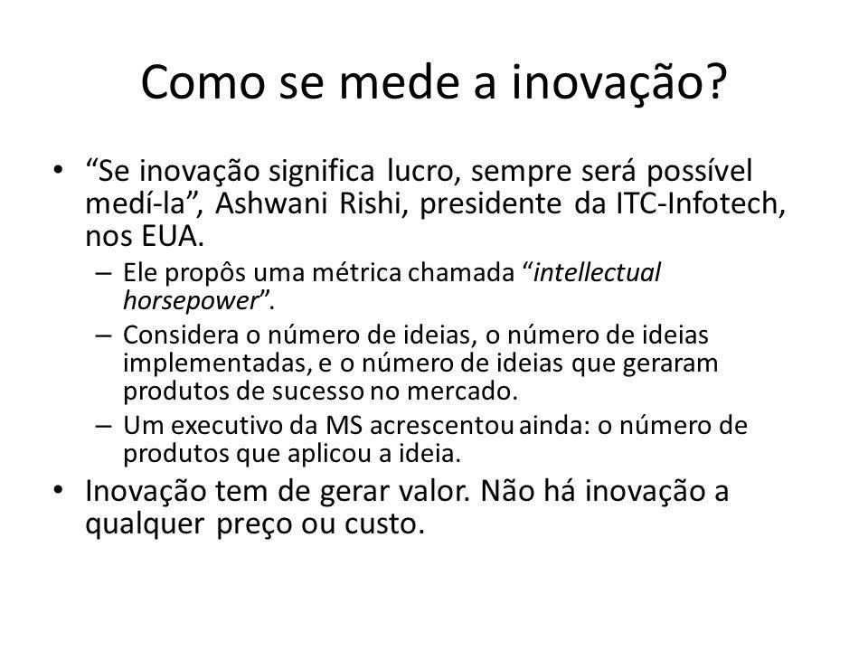 Como se mede a inovação Se inovação significa lucro, sempre será possível medí-la , Ashwani Rishi, presidente da ITC-Infotech, nos EUA.