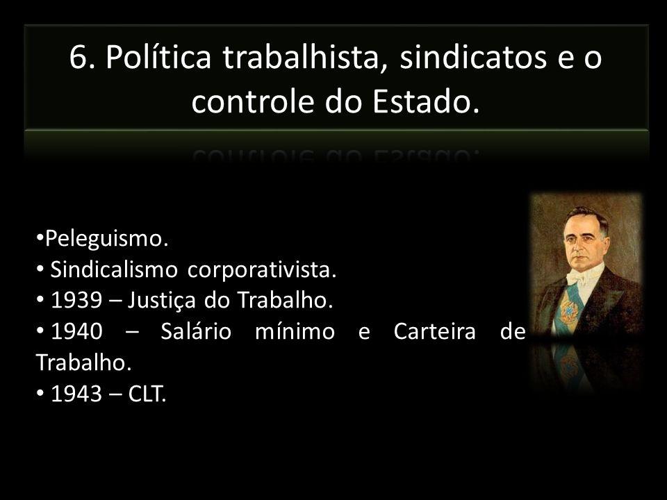 6. Política trabalhista, sindicatos e o controle do Estado.