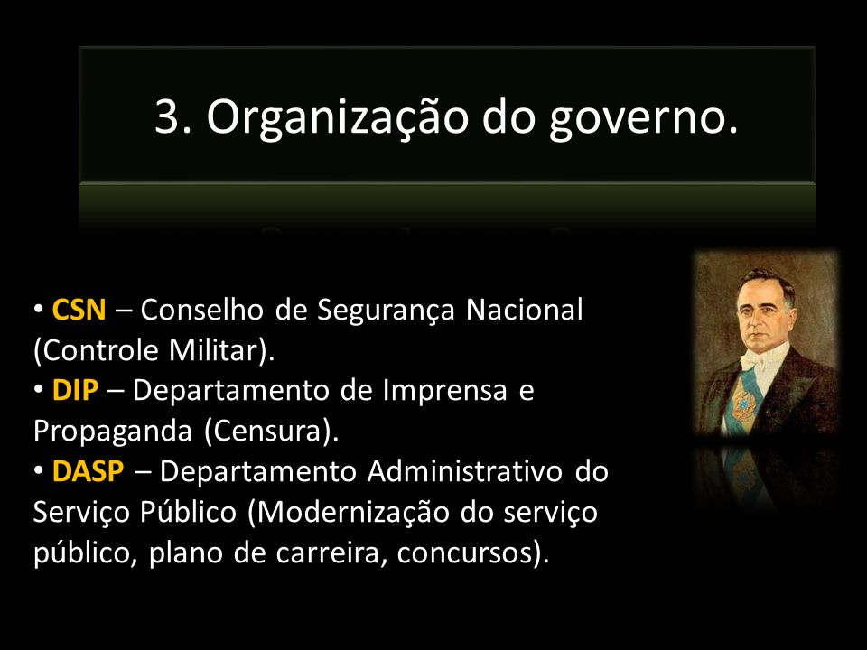 3. Organização do governo.