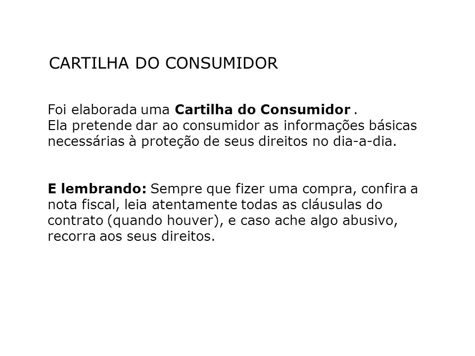 CARTILHA DO CONSUMIDOR